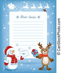 Layout letter to Santa Claus and cartoon funny Snowman with Christmas letter for Santa, with deer and sleigh with reindeer team flying in the sky