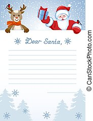 """Layout letter to Santa Claus with inscription """"Dear Santa"""" and cartoon funny deer reindeer with Santa Claus with Christmas gift box and with bullfinch"""