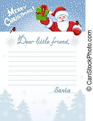 Layout letter to Santa Claus with wish list and cartoon funny Santa with Christmas gift box and bullfinches