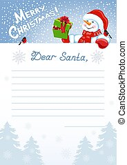 Layout letter to Santa Claus with wish list and funny Snowman with Christmas gift box and bullfinch