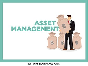 Layout of a businessman with bags of money with a title of...