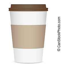 Layout of a realistic coffee cup with a brown lid and a cup holder. Front view. Isolated on white background. Vector