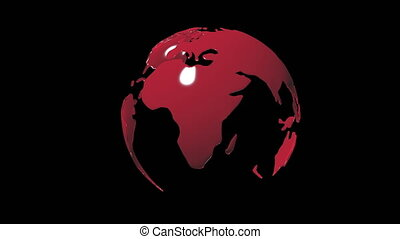 Layout of a rotating planet earth on a black background with...