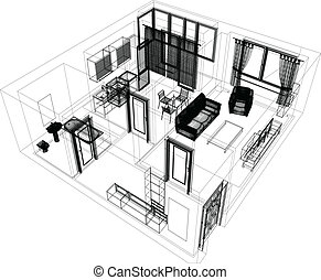 layout of the apartment. Wire-frame render on white ...