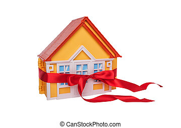 Layout of the house wrapped in a gift bow.