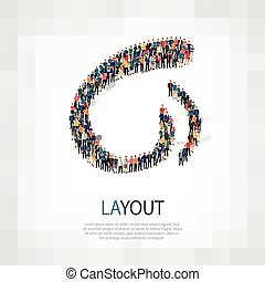layout people sign 3d