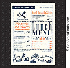 layout, restaurang meny, ram, lunch, design, retro