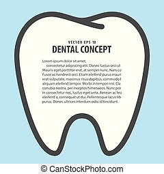 Layout tooth  frame cartoon style for info or book illustration vector on blue background. Dental concept.