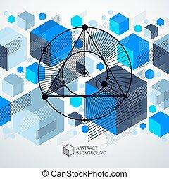 layout., vecteur, industriel, utilisé, plan., ingénierie, gabarit, fond, boîte, avenir, composition, être, moderne, technique, géométrique, bleu