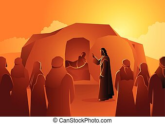 lazarus, felállít, holt, jézus