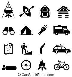 lazer, acampamento, e, recreação, ícones
