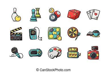 lazer, e, passatempo, ícones, jogo