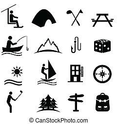 lazer, esportes recreação, ícones
