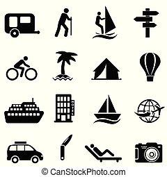 lazer, recreação, e, ao ar livre, ícones