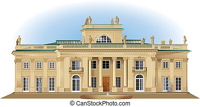 Lazienki royal summer palace detailed realistic view of the south facade. Color vector illustration.