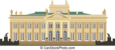 North facade of the Royal Summer Palace in Warsaw Lazienki. Color vector detailed illustration.