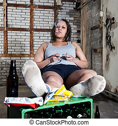 Laziness - Lazy woman, in an unkempt room, looking sleazy ...