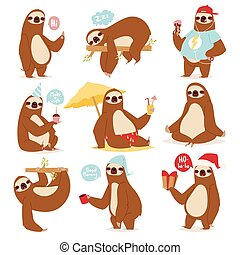 Laziness sloth animal character different pose like human...