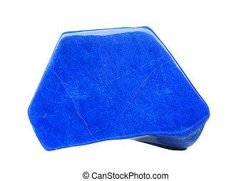 Lazurite isolated on white - Blue lapis lazuli polished with...