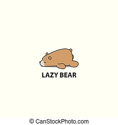 Lazy bear icon, logo design