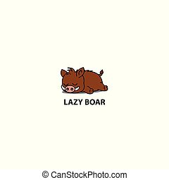 Lazy boar icon, logo design, vector illustration