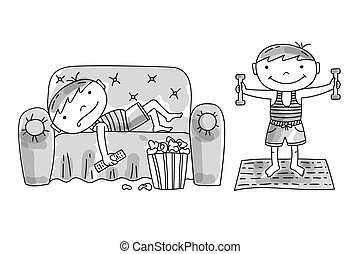 Lazy boy lying on couch with popcorn and tv remote. Active boy doing morning exercises with dumbells. Bad and good children habits, hand drawn vector illustration.