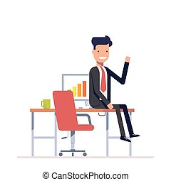 Lazy businessman or manager sitting at the table. Man in a business suit smiling and waving. Vector, illustration EPS10.