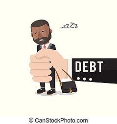 lazy bussinessman got into debt vector illustration