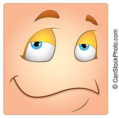 Lazy Cartoon Happy Face Box Smiley