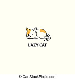 Lazy cat, fat kitten sleeping, logo design, icon vector illustration
