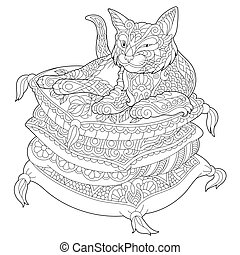 Lazy Cat on pillows. Coloring Page for adult colouring book.