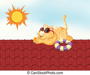 Lazy cat sunbathing on a roof in summer