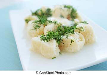lazy dumpling from the cottage cheese with the dill