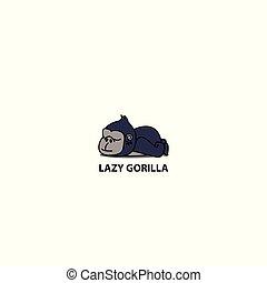 Lazy gorilla icon, logo design, vector illustration