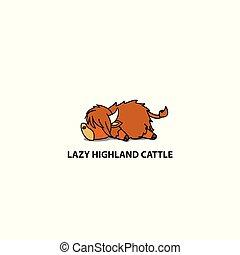 Lazy highland cattle icon, logo design, vector illustration
