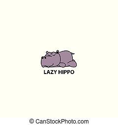 Lazy hippo, Hippopotamus sleeping icon, logo design, vector illustration