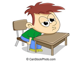 lazy - illustration of a child sleepy in class