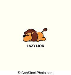 Lazy lion icon, logo design, vector illustration
