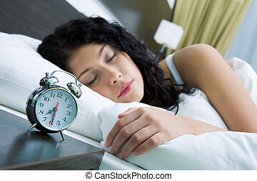 Lazy morning - Image of alarm clock on background of...