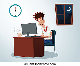working overtime - lazy office worker get grumpy when...