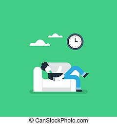 Lazy person resting on sofa, procrastination habit
