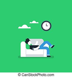 Procrastination concept, lazy man on sofa, couch potato, tired person, lying down on back, passive time spending, vector illustration