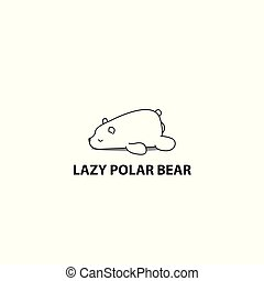 Lazy polar bear icon, logo design