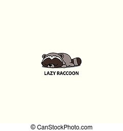 Lazy raccoon icon, logo design, vector illustration