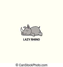 Lazy rhino icon, logo design, vector illustration
