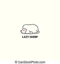 Lazy sheep icon, logo design, vector illustration