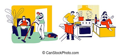 Lazy Spouse Concept. Wife or Husband Characters Making Everyday Household Duties while their Partner Do Nothing at the same Time. Family Discrimination, Depreciation. Linear People Vector Illustration