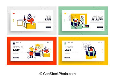 Lazy Spouse Landing Page Template Set. Wife or Husband Characters Household Duties while their Partner Do Nothing at same Time. Family Discrimination, Depreciation. Linear People Vector Illustration