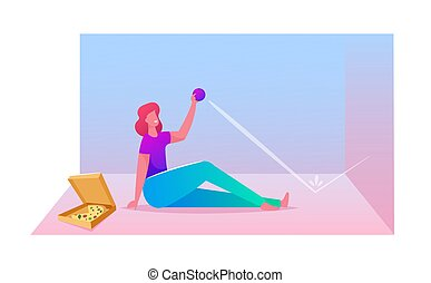 Lazy Weekend Day, Procrastination and Relaxed Home Spare Time Concept. Female Character Sitting on Floor with Pizza Box Eat and Throwing Little Ball in Wall and Catching. Cartoon Vector Illustration