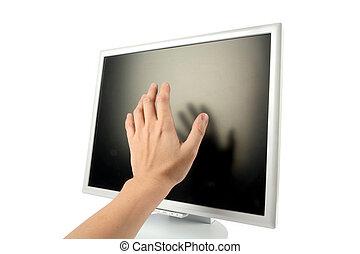 lcd , οθόνη , χέρι